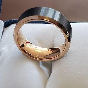 8mm Brushed Black Rose gold Edge Tungsten Ring